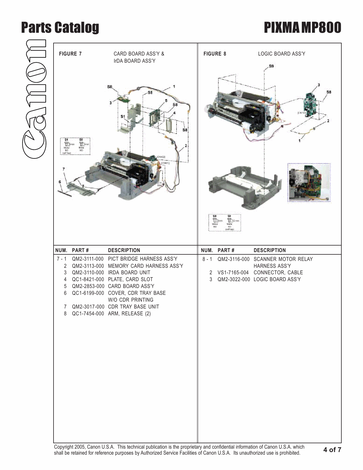 Canon PIXMA MP800 Parts Catalog Manual-5